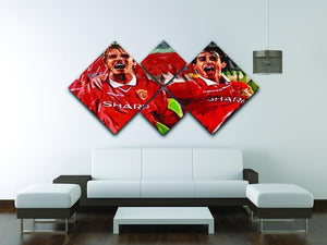 David Beckham and Gary Neville 4 Square Multi Panel Canvas - Canvas Art Rocks - 3