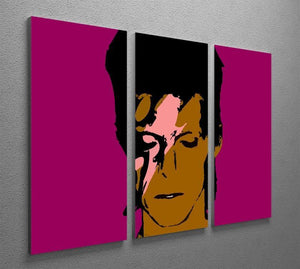 David Bowie Ziggy Stardust 3 Split Panel Canvas Print - Canvas Art Rocks - 2