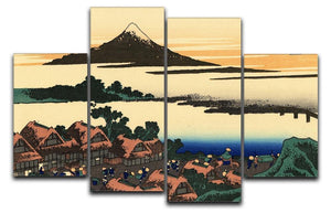 Dawn at Isawa in the Kai province by Hokusai 4 Split Panel Canvas  - Canvas Art Rocks - 1
