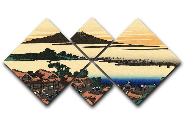 Dawn at Isawa in the Kai province by Hokusai 4 Square Multi Panel Canvas