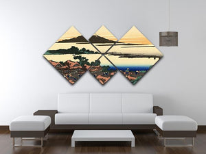 Dawn at Isawa in the Kai province by Hokusai 4 Square Multi Panel Canvas - Canvas Art Rocks - 3