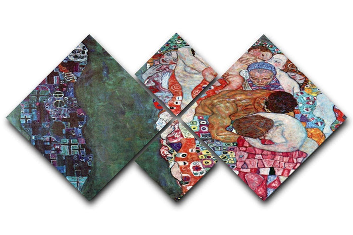 Death and Life by Klimt 4 Square Multi Panel Canvas