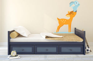Deer & Rabbit Wall Sticker - Canvas Art Rocks - 1