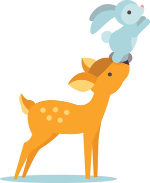 Deer & Rabbit Wall Sticker - Canvas Art Rocks - 2