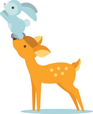 Deer & Rabbit Wall Sticker - Canvas Art Rocks - 3