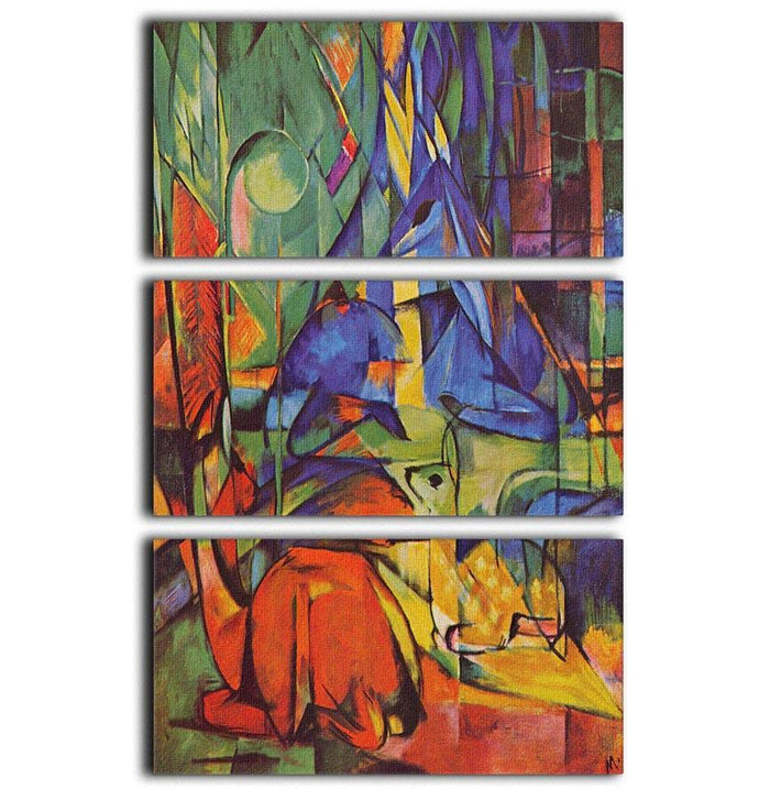 Deer in Forest by Franz Marc 3 Split Panel Canvas Print