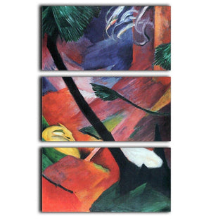 Deer in the forest II by Franz Marc 3 Split Panel Canvas Print - Canvas Art Rocks - 1