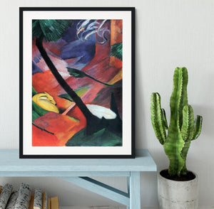 Deer in the forest II by Franz Marc Framed Print - Canvas Art Rocks - 1