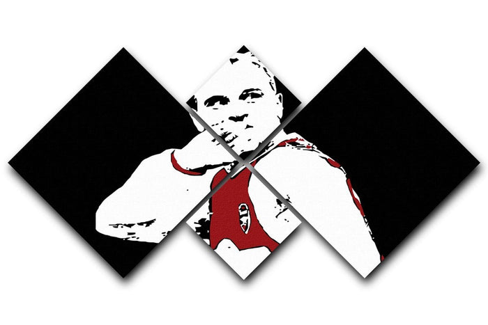 Dennis Bergkamp Close Up 4 Square Multi Panel Canvas