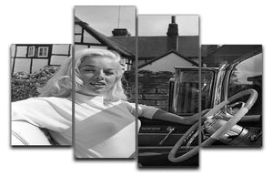 Diana Dors in her car 4 Split Panel Canvas  - Canvas Art Rocks - 1