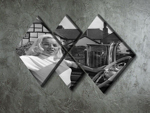 Diana Dors in her car 4 Square Multi Panel Canvas  - Canvas Art Rocks - 2