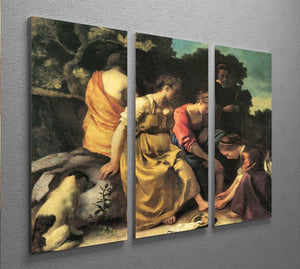 Diana and her nymphs by Vermeer 3 Split Panel Canvas Print - Canvas Art Rocks - 2