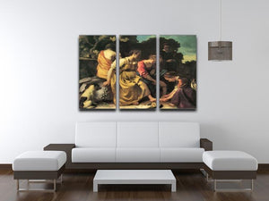 Diana and her nymphs by Vermeer 3 Split Panel Canvas Print - Canvas Art Rocks - 3