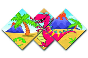 Dinosaur Volcano Cartoon 4 Square Multi Panel Canvas  - Canvas Art Rocks - 1