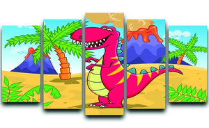 Dinosaur Volcano Cartoon 5 Split Panel Canvas  - Canvas Art Rocks - 1