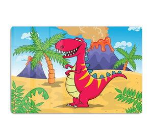 Dinosaur Volcano Cartoon HD Metal Print