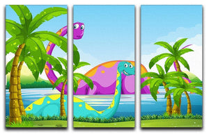Dinosaur having fun in the lake 3 Split Panel Canvas Print - Canvas Art Rocks - 1