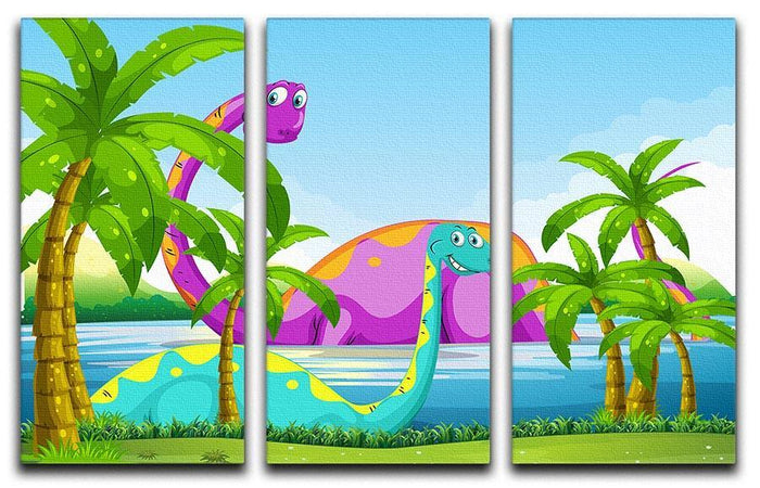 Dinosaur having fun in the lake 3 Split Panel Canvas Print