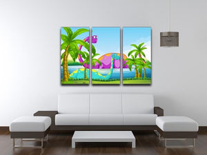 Dinosaur having fun in the lake 3 Split Panel Canvas Print - Canvas Art Rocks - 3