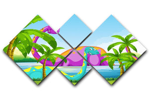 Dinosaur having fun in the lake 4 Square Multi Panel Canvas  - Canvas Art Rocks - 1