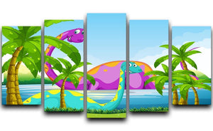 Dinosaur having fun in the lake 5 Split Panel Canvas  - Canvas Art Rocks - 1
