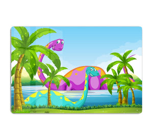 Dinosaur having fun in the lake HD Metal Print