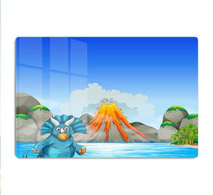 Dinosaur living by the lake HD Metal Print