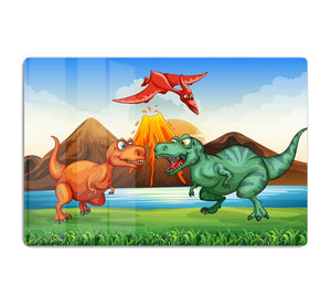 Dinosaurs fighting HD Metal Print