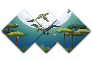 Dinosaurs flying on fullmoon 4 Square Multi Panel Canvas  - Canvas Art Rocks - 1