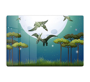 Dinosaurs flying on fullmoon HD Metal Print