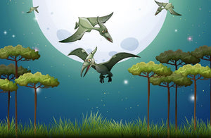 Dinosaurs flying on fullmoon Wall Mural Wallpaper - Canvas Art Rocks - 1