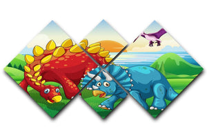 Dinosaurs in the park 4 Square Multi Panel Canvas  - Canvas Art Rocks - 1