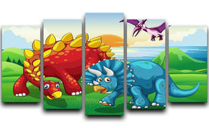 Dinosaurs in the park 5 Split Panel Canvas  - Canvas Art Rocks - 1