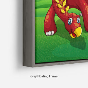 Dinosaurs in the park Floating Frame Canvas