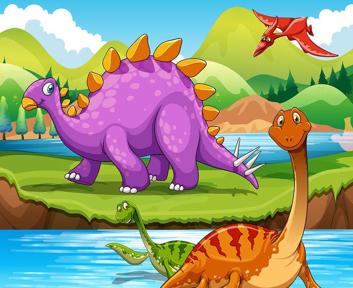 Dinosaurs living by the river Wall Mural Wallpaper