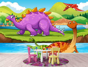 Dinosaurs living by the river Wall Mural Wallpaper - Canvas Art Rocks - 2