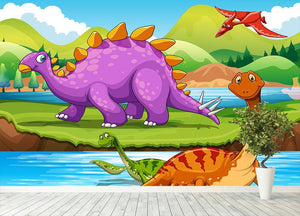 Dinosaurs living by the river Wall Mural Wallpaper - Canvas Art Rocks - 4