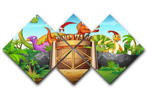 Dinosaurs living in Dino park 4 Square Multi Panel Canvas  - Canvas Art Rocks - 1