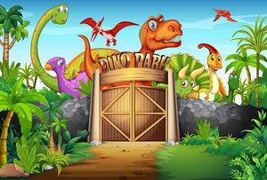 Dinosaurs living in Dino park Wall Mural Wallpaper - Canvas Art Rocks - 1