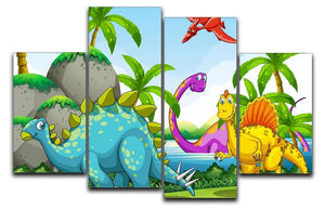 Dinosaurs living in the jungle 4 Split Panel Canvas  - Canvas Art Rocks - 1