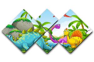 Dinosaurs living in the jungle 4 Square Multi Panel Canvas  - Canvas Art Rocks - 1