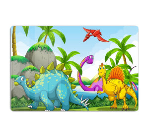 Dinosaurs living in the jungle HD Metal Print