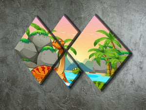 Dinosaurs living in the ocean 4 Square Multi Panel Canvas - Canvas Art Rocks - 2
