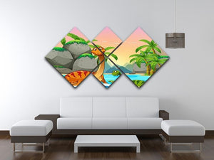 Dinosaurs living in the ocean 4 Square Multi Panel Canvas - Canvas Art Rocks - 3