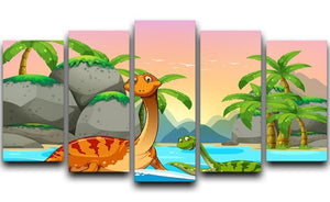 Dinosaurs living in the ocean 5 Split Panel Canvas  - Canvas Art Rocks - 1