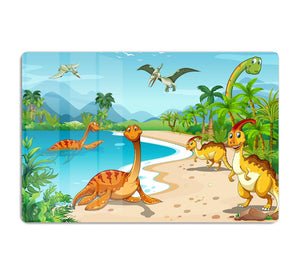 Dinosaurs living on the beach HD Metal Print