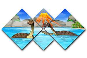 Dinosaurs swimming in the lake 4 Square Multi Panel Canvas  - Canvas Art Rocks - 1