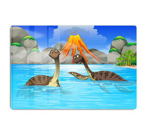 Dinosaurs swimming in the lake HD Metal Print
