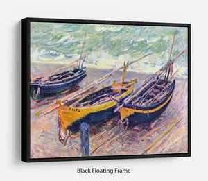 Dock of etretat three fishing boats by Monet Floating Frame Canvas