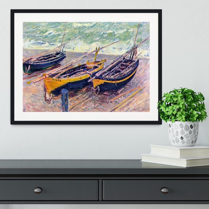 Dock of etretat three fishing boats by Monet Framed Print